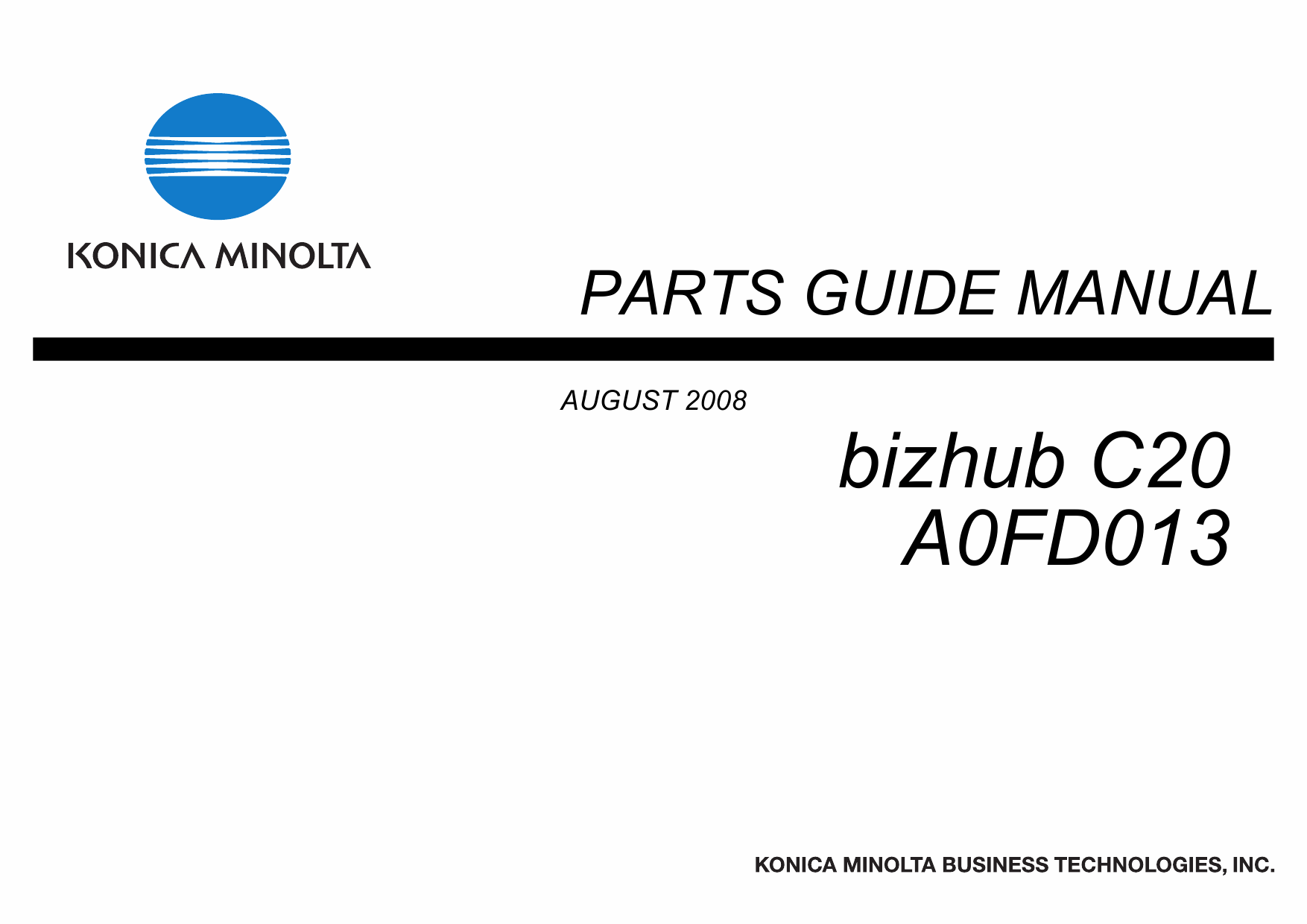 Konica-Minolta bizhub C20 Parts Manual